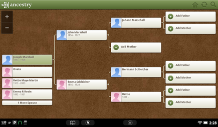 pedigree chart of joseph marshall from ancestry app on nook tablet