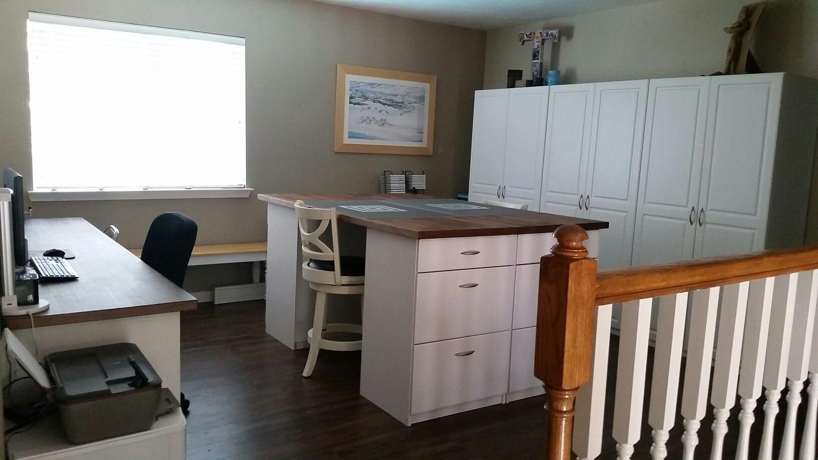 My Happy Place Desk Is 98 Ikea Karlby Countertop In Walnut Plus 3 Alex Drawer Units 2 With Drop File Craft Isl Desk Storage Room Storage Diy Craft Storage
