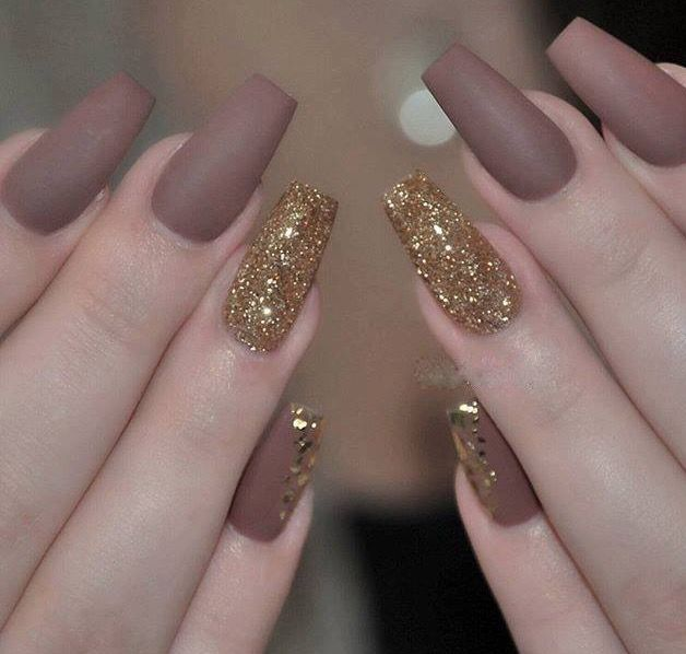 Pin by aj on nail ideas pinterest matte nails nail color matte brown with gold glitter and flakes the side fingernail is beautiful unsure about the brown but i kinda can imagine wearing this in autumn prinsesfo Images