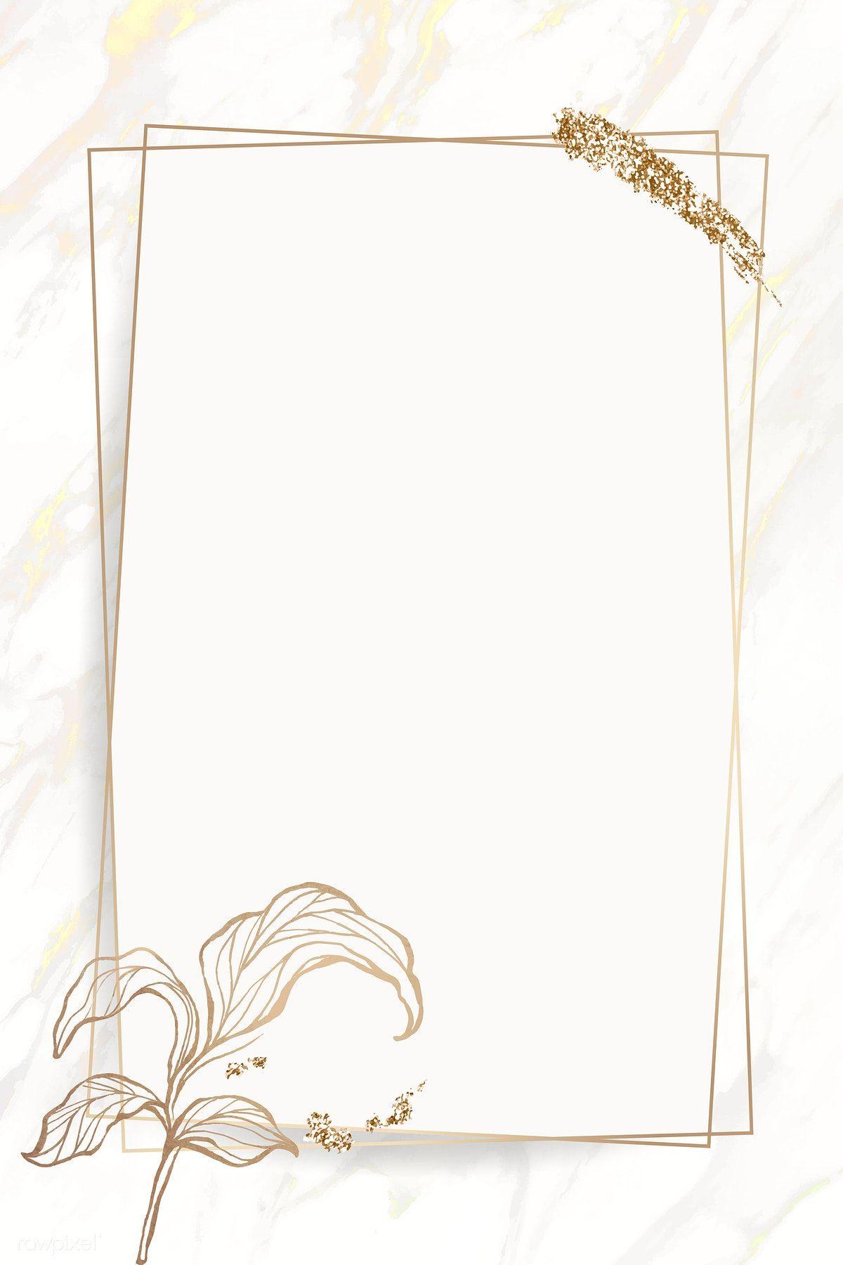 Download Premium Vector Of Gold Leaves Frame With Brush Stoke Vector Frame Border Design Flower Background Wallpaper Pink And Gold Wallpaper