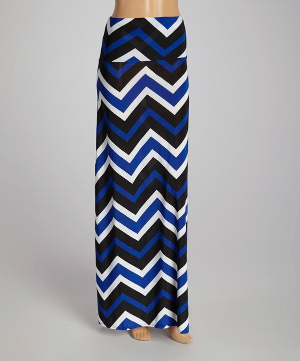 d0531e324 This Royal Blue & White Zigzag Maxi Skirt by Hadari is perfect! #zulilyfinds