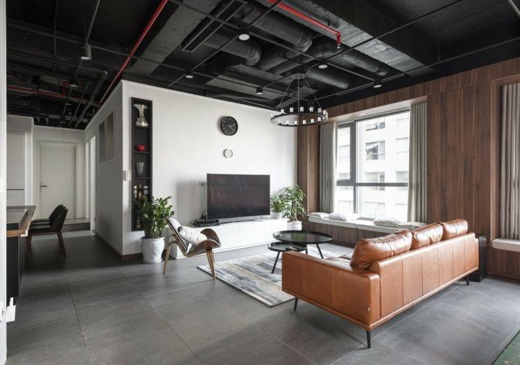 Wohnzimmer Industrial Design Decke Kronleuchter Rohre Schwarz Rot