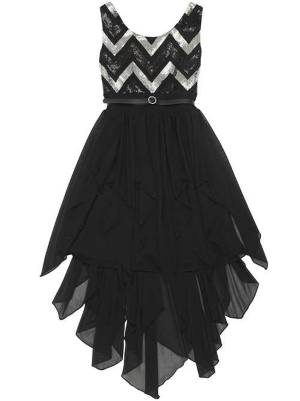 Girls Party Dress Black and Silver Chevron Sequined Girls 7-16 ...
