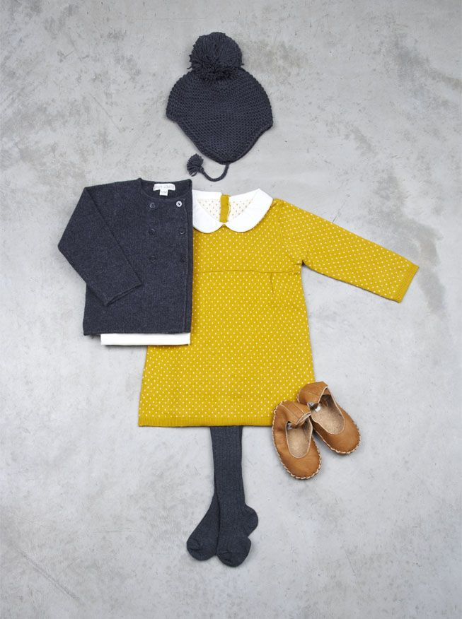Autumn Winter//Mustard Peter Pan Collared Dress, Navy Blue Hat, Navy Blue Cardigan, Brown Leather Shoes