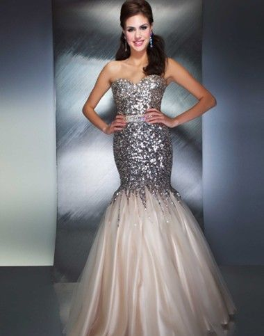 A lovely silver grey sparkly prom gown design by Mac Duggal | Prom ...