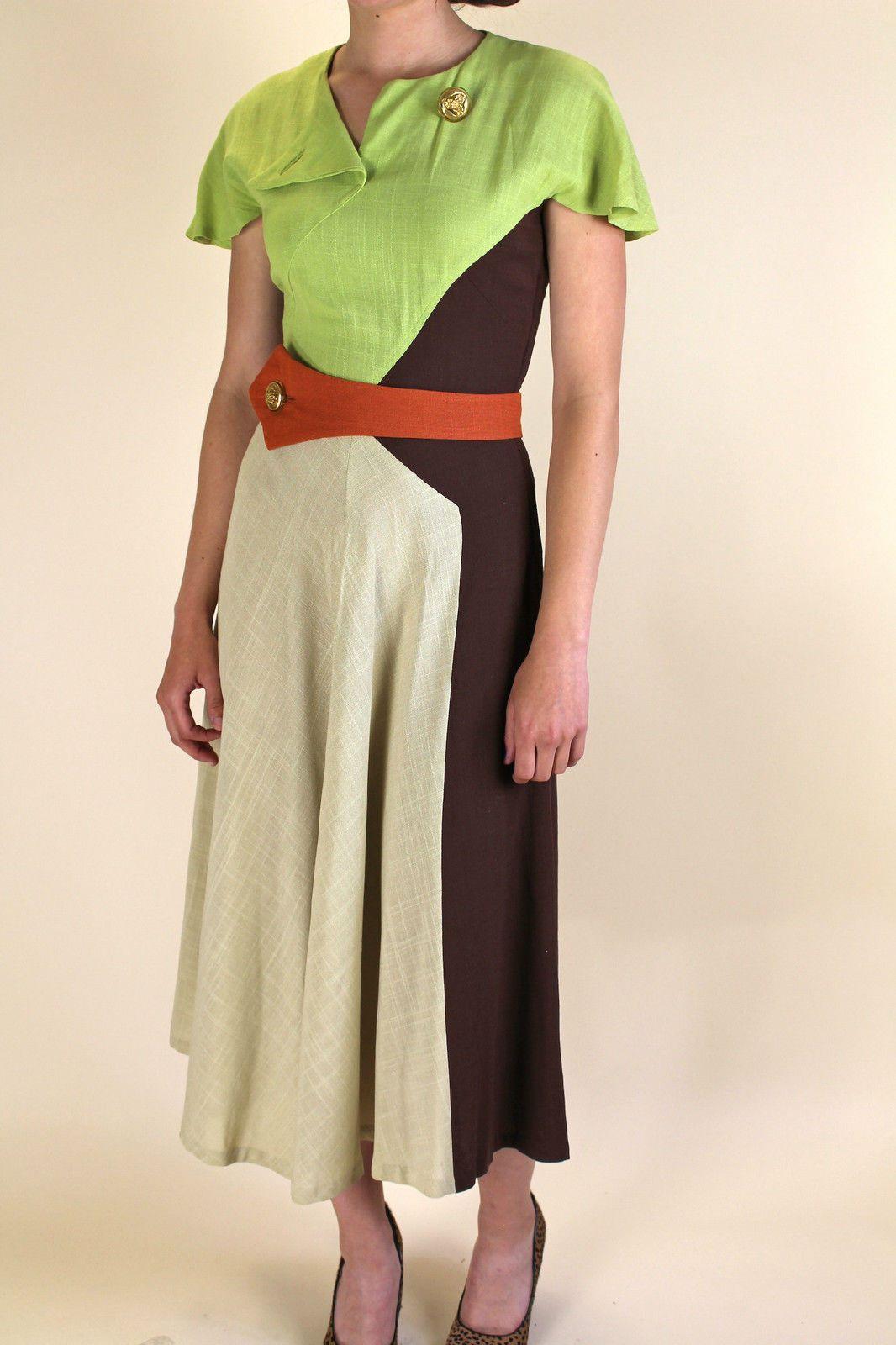 Vintage 1940s Color Block Swag Dress