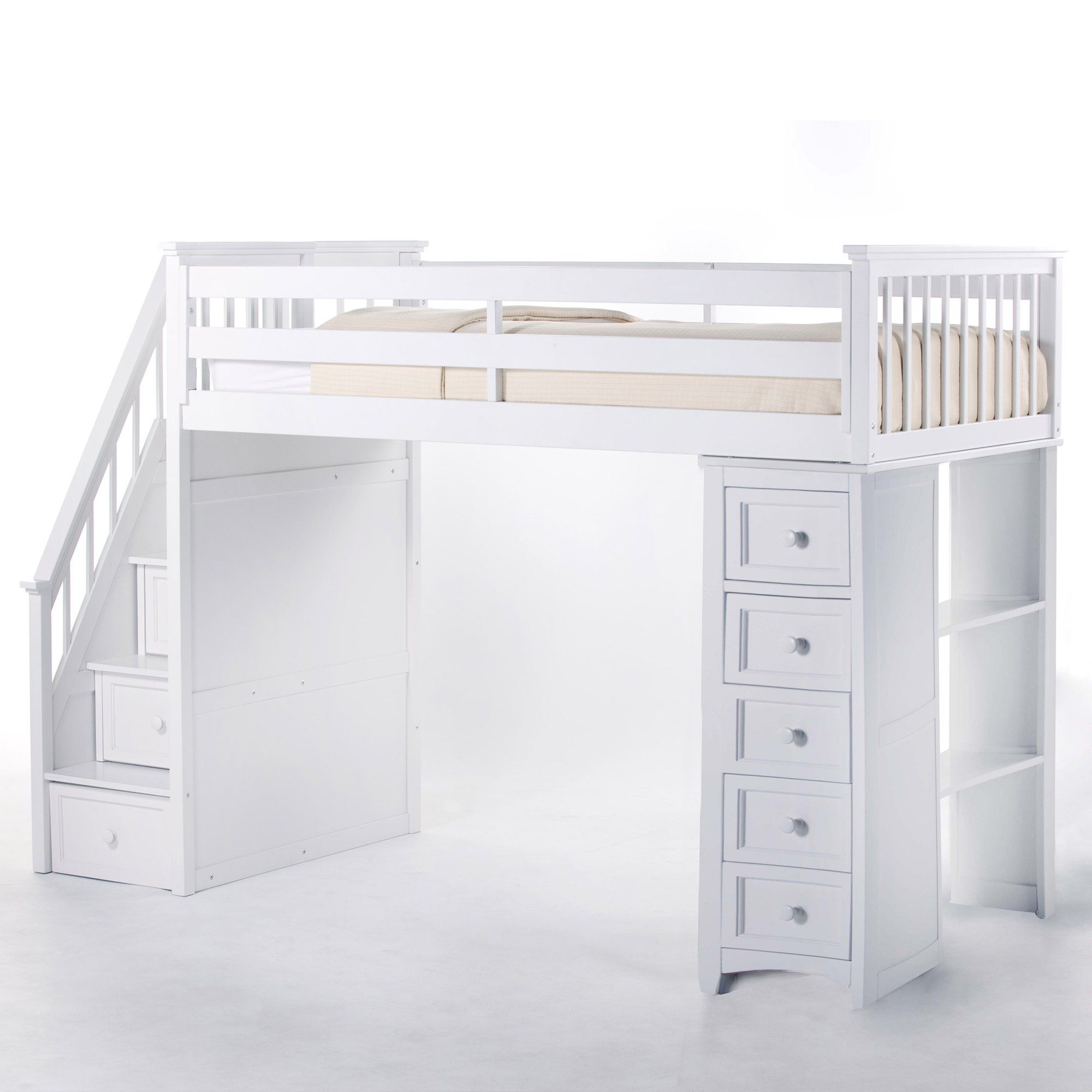 Donco Twin Low Loft Bed with Slide and Optional Tent