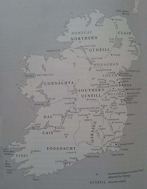 Map of Viking raids on Irish monasteries from 795-853