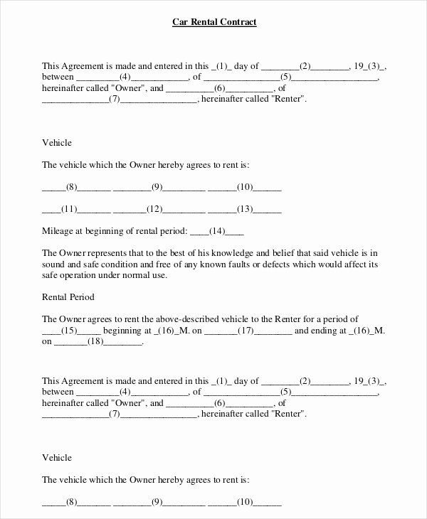 Car Deposit Contract Template New Car Rental Agreement 11 Free Word Pdf Documents Rental Agreement Templates Invoice Template Word Car Rental