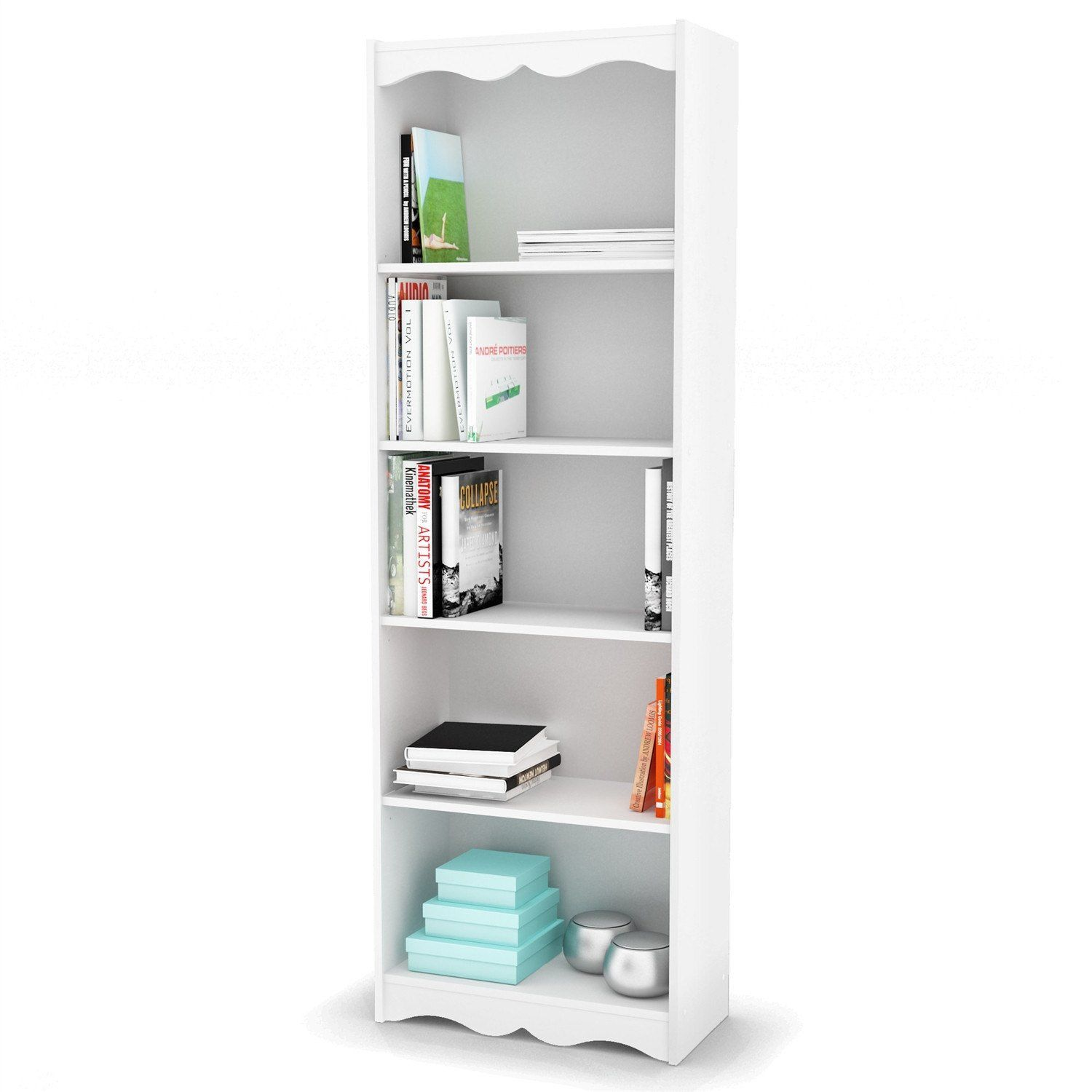white 72 inch high bookcase with soft arches and 5 shelves sunroom rh pinterest com