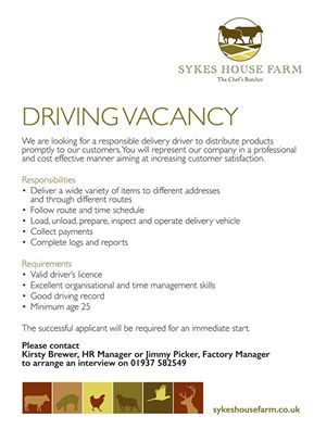 Job Alert Sykes House Farm Are Looking For A Delivery Driver