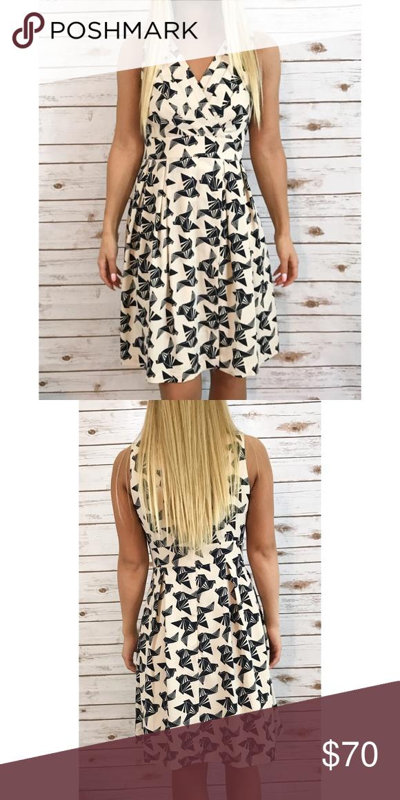 Eliza j paper crane printed dress Size 2, in excellent condition ...