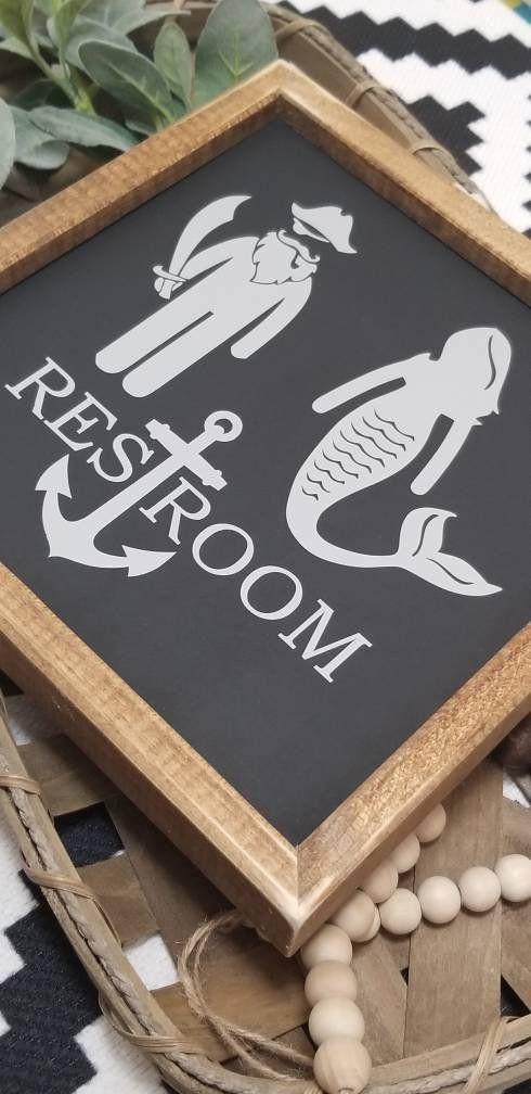 Mermaid pirate restroom sign, restroom sign, mermaid sign, nautical decor Sign, funny bathroom sign, farmhouse sign, bathroom decor #mermaidsign