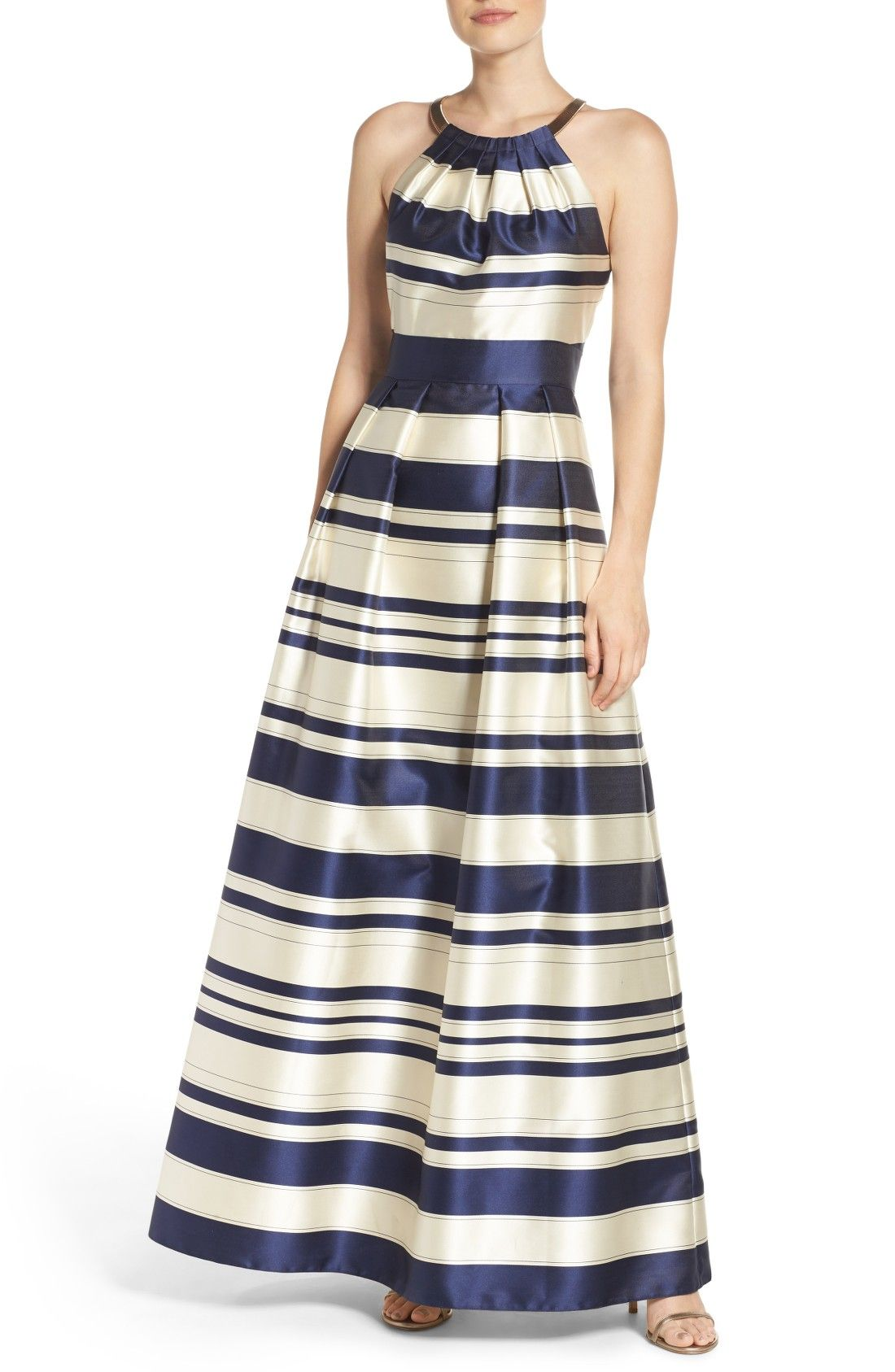 Navy blue striped ballgown by Eliza J  affiliate  Theia dresses