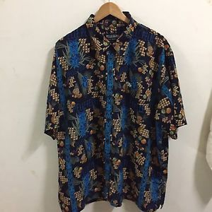 RARE! Marc Buchanan Pelle Pelle Pineapple Blue Mens Short Sleeve Shirt Sz XXL  | eBay