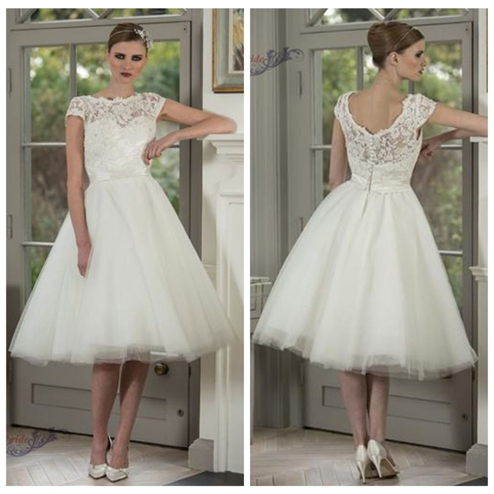 2014 Cap Sleeve Tea Length Vintage White/Ivory Lace Wedding Dresses ...