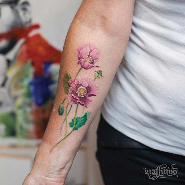 47 Breathtaking Watercolor Flower Tattoos Flower Tattoo Shoulder