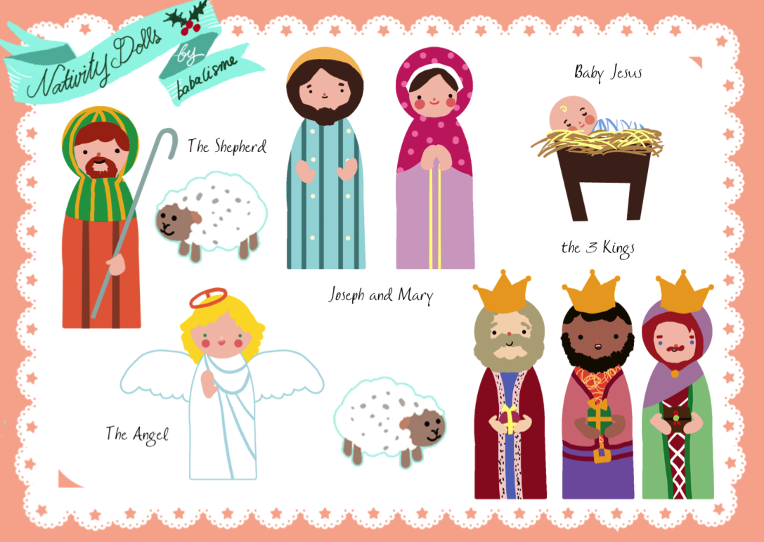 photograph relating to Printable Nativity named No cost Paper Doll Printables - The Nativity, Santas Helpers