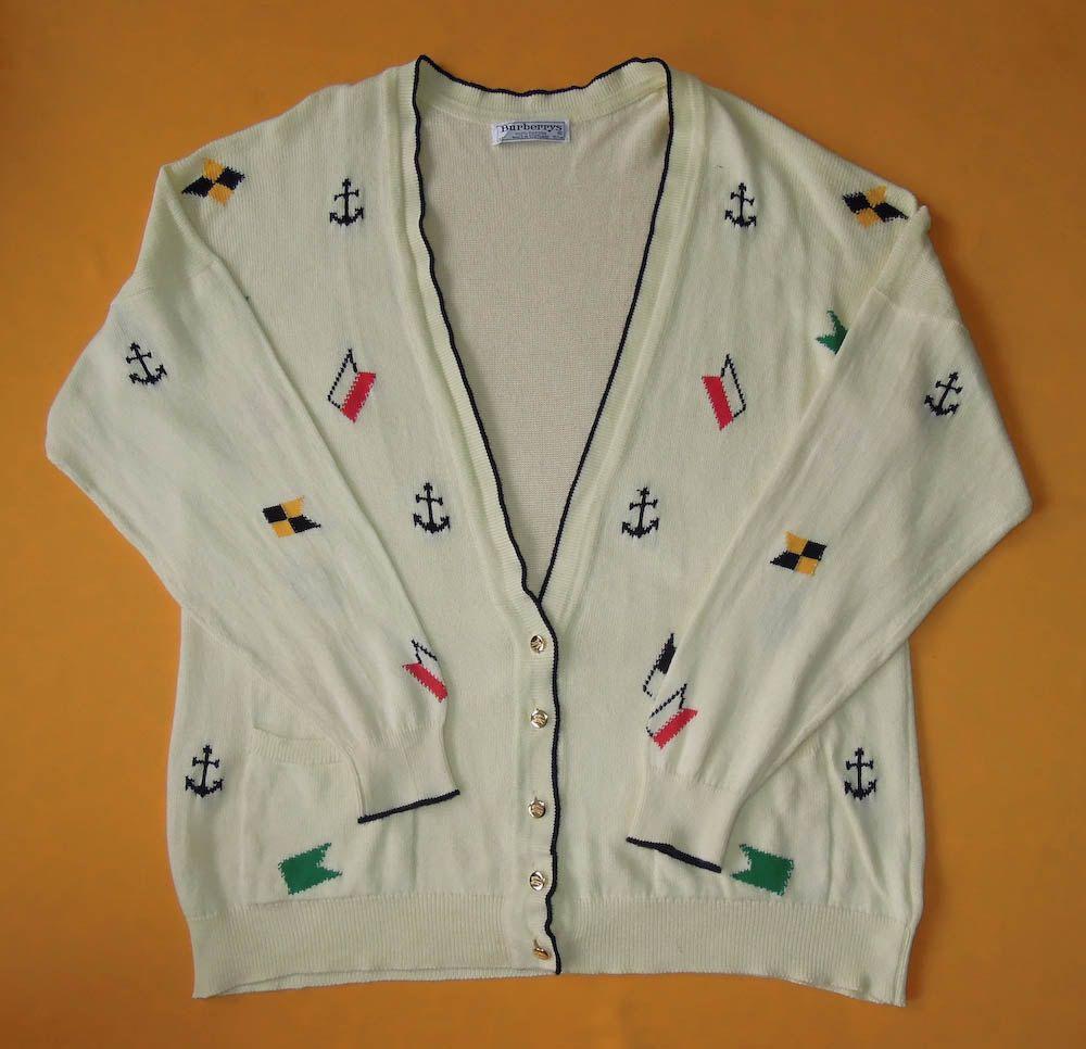 Burberys Cardigan Vintage 80s Sweater Sweatshirt Varsity Button ...