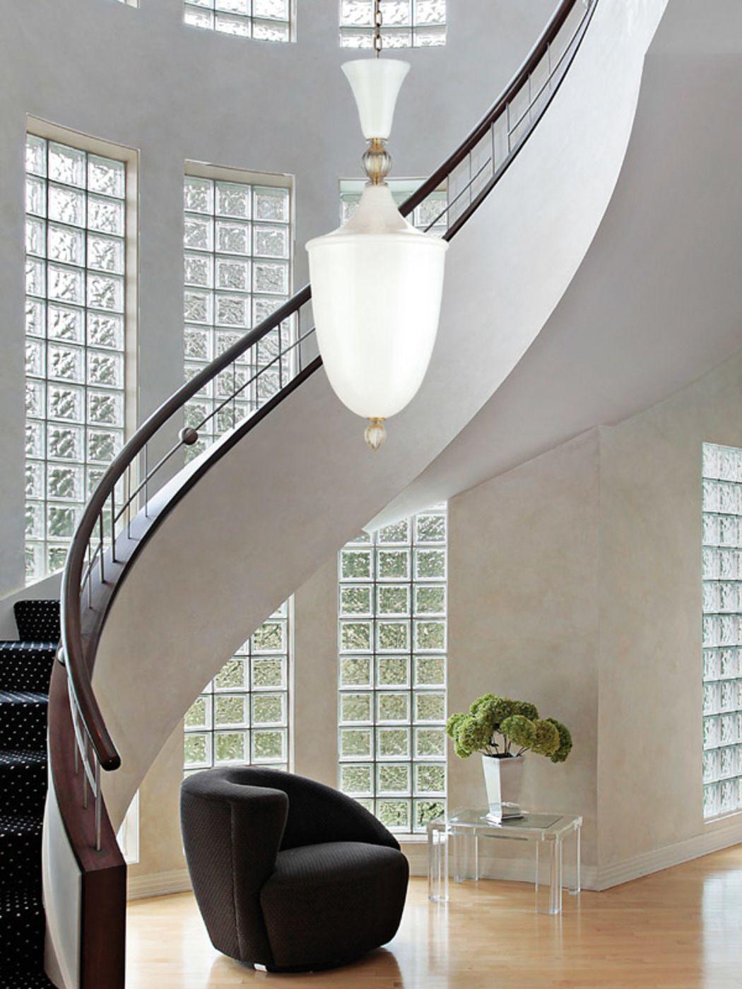 Edwardian hallway lighting  Hand blown White murano glass Pendant Made in Murano Italy by