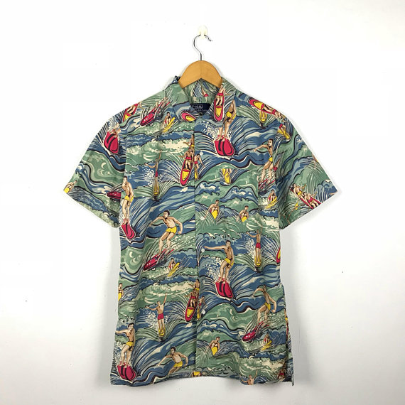 Size Polo Print 90s Shirt Over Vintage Surfing Hawaiian Lauren Ralph zpVUMS