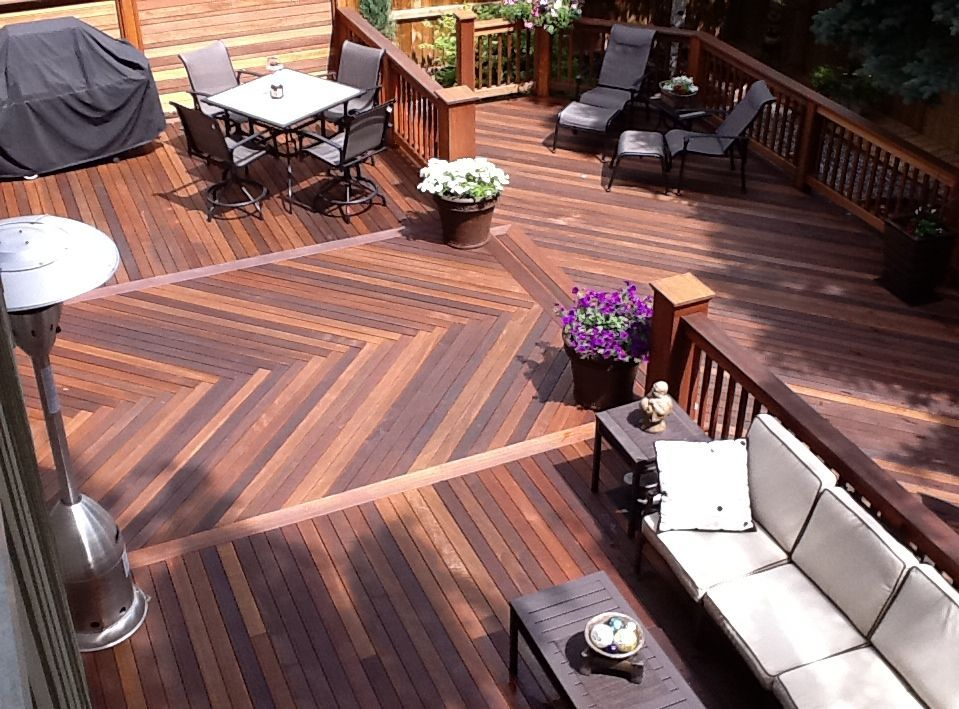 1 year old Dark Red Meranti decking material. Supplied by