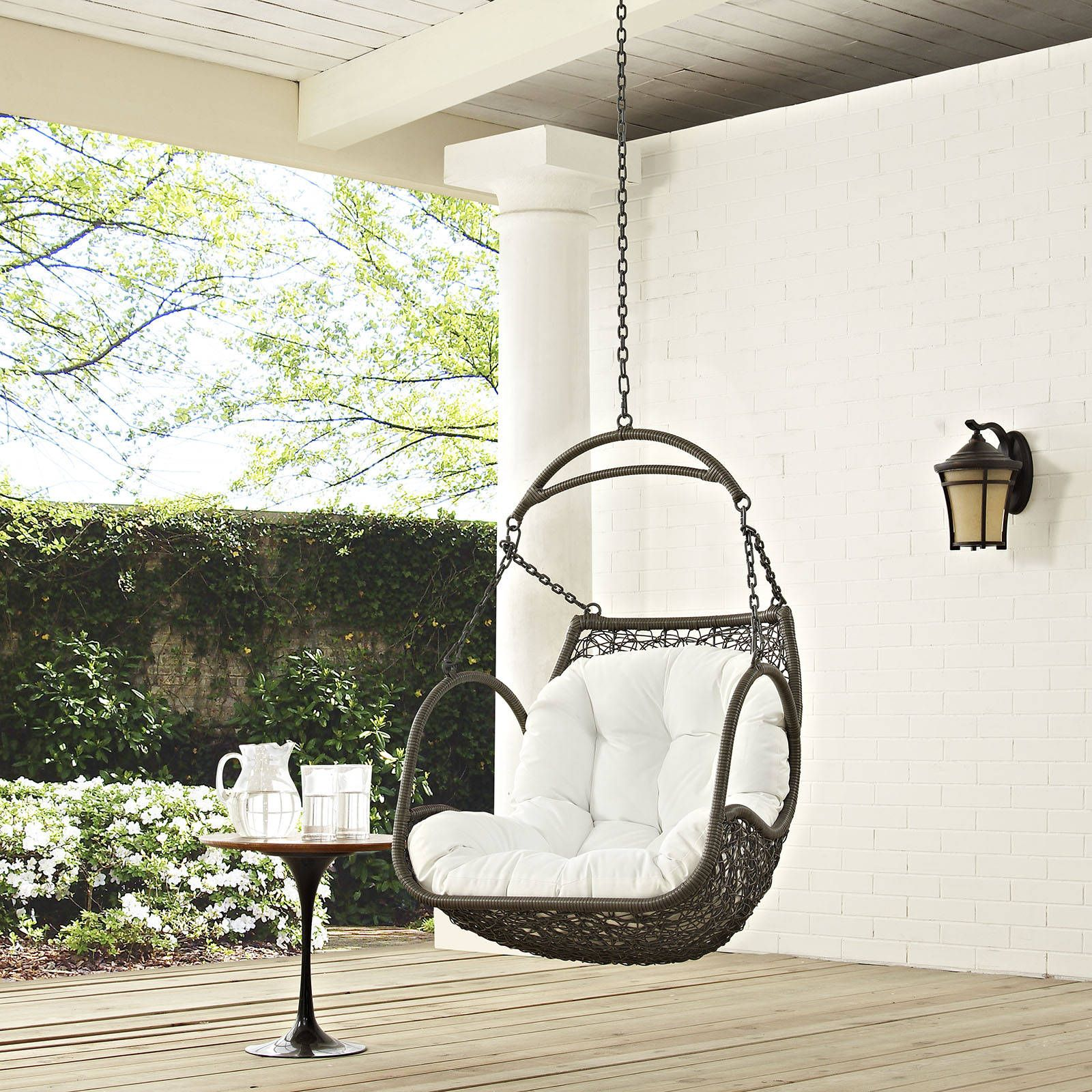 Modway Furniture Arbor White Outdoor Patio Swing Chair