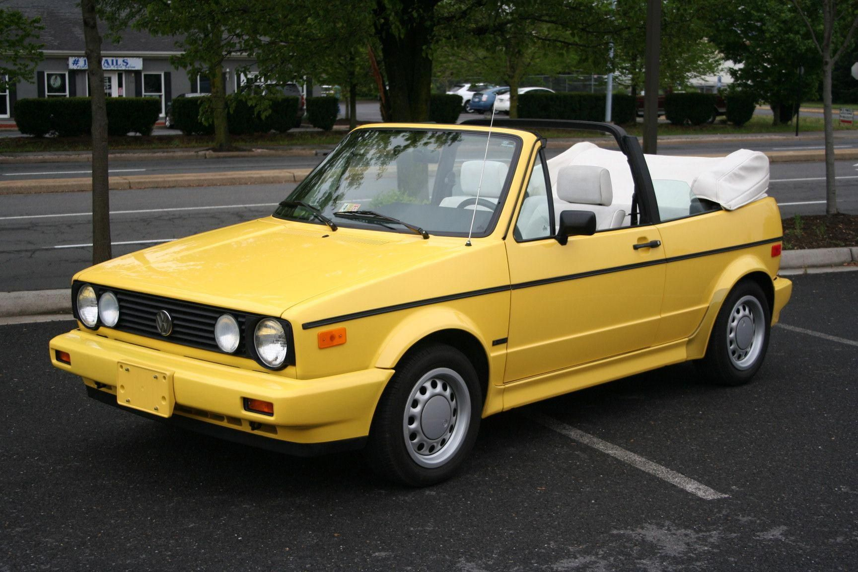 Yellow Volkswagen 1990 Cabriolet So This Is What They Look Like With The Top Down Volkswagonclassiccars Vw Cabriolet Volkswagen Cabriolets