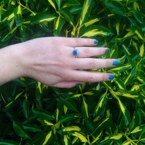 Handmade Silver 925 Italian Glass BlueBerry Ring 16 #handmade #arts #leatherandarts #silver #ring #glass #bluberry   https://leatherandarts.com