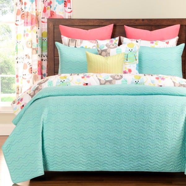 Robins Egg Blue Accent Wall Bedroom 2018: Crayola Stitched Robin's Egg Blue 3-piece Quilted Coverlet