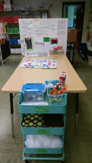 Fiber center, cart hold sewing materials, can be rolled away for younger students.