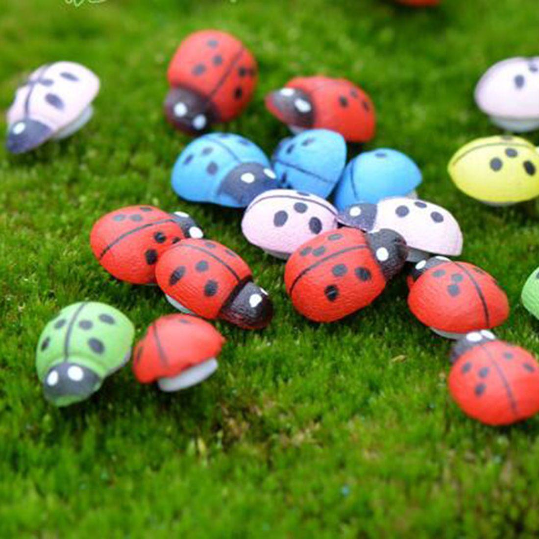 Hot sale 10pcs DIY Crafts Scrapbooking Beads Painted Wood Ladybug ...