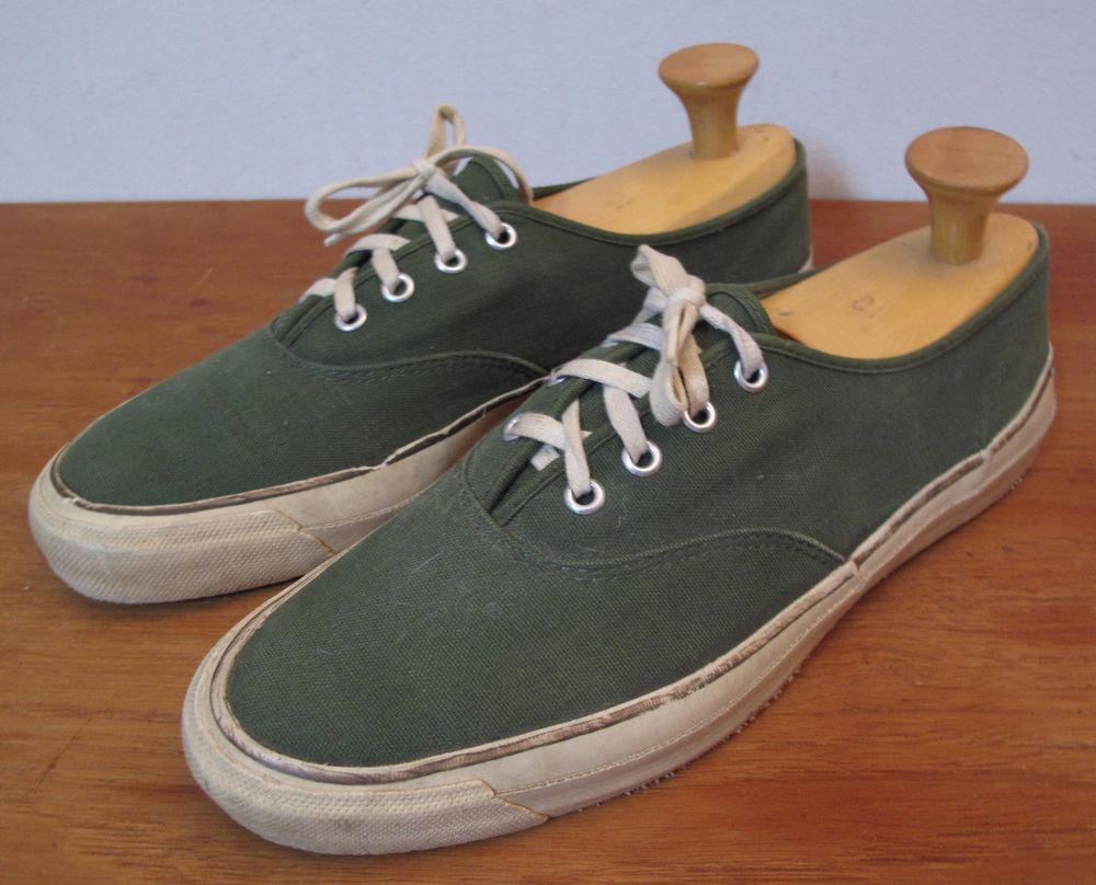 MENS VINTAGE 60s green LOW CANVAS BOAT DECK SHOES SNEAKERS USA 10 (keds  vans  )  ed3751863