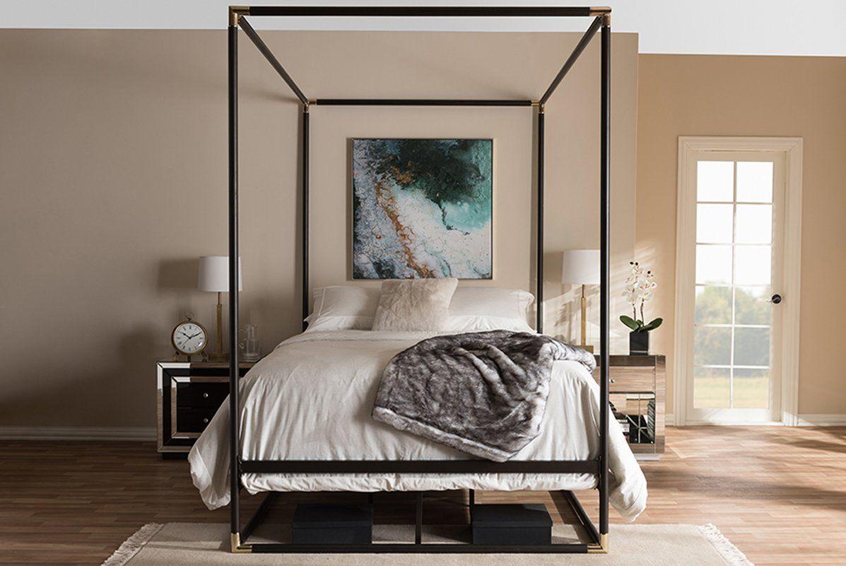 Ozzie Queen Canopy Bed Metal canopy bed, Queen canopy