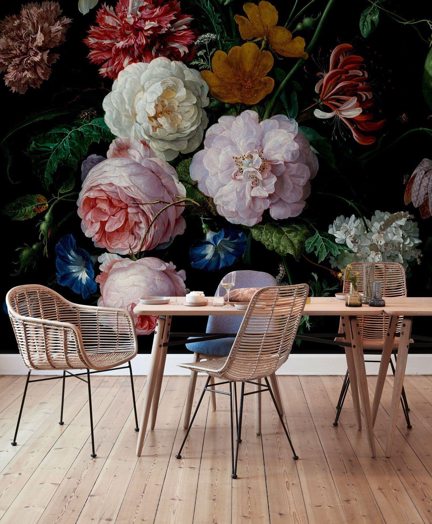 Tapete Fototapete Blumen Strauss Floral Pfingstrose Vintage
