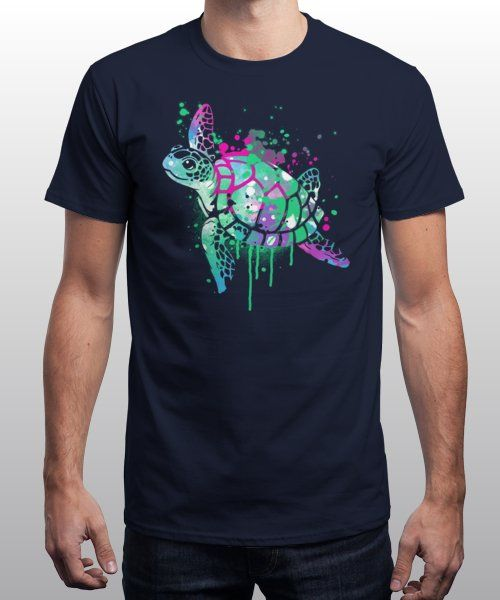 """""""Fluo sea turtle"""" is today's £9/€11/$12 tee for 24 hours only on Pin this…   Qwertee thumbnail"""