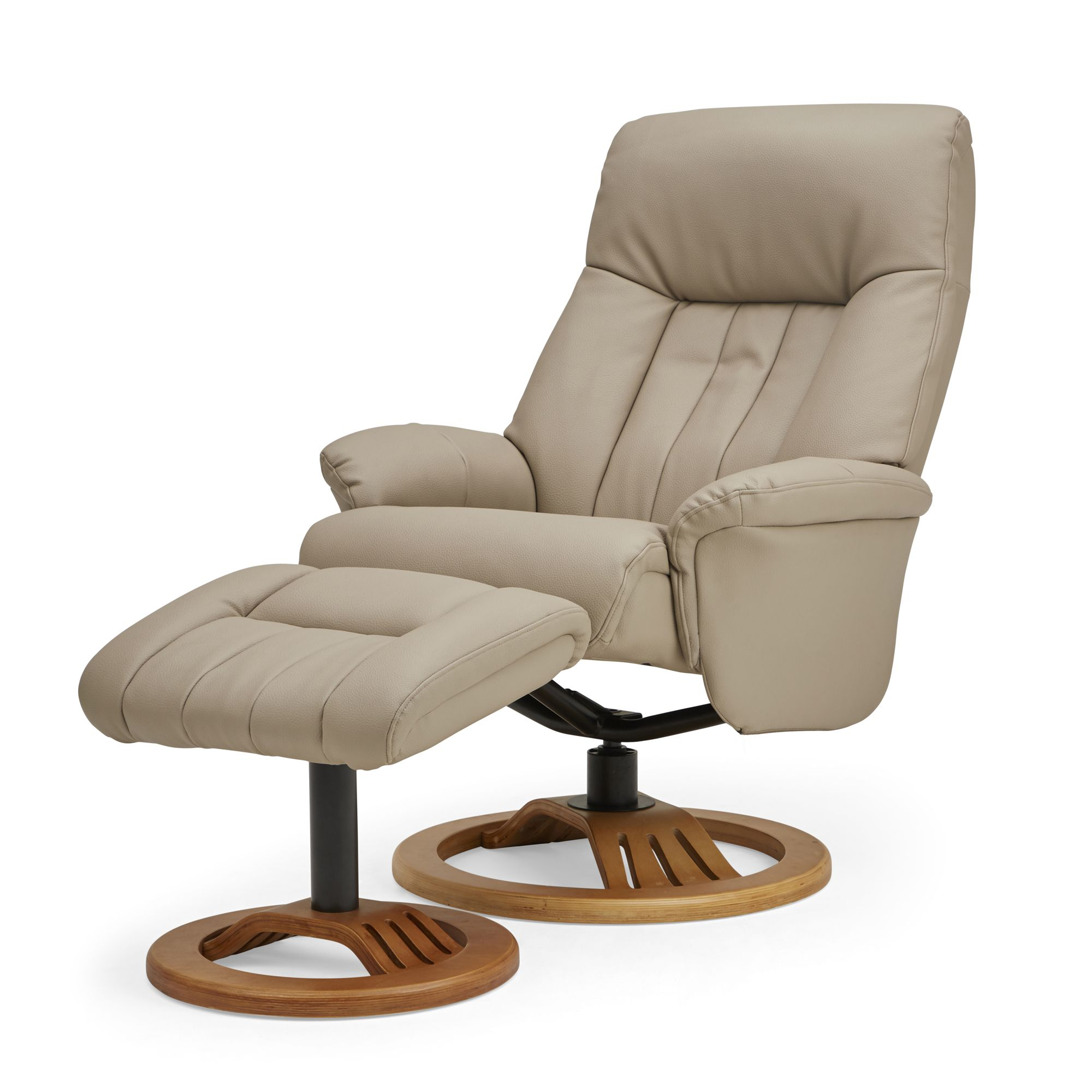 Nelson Swivel Recliner Chair and Footstool - Natural ...