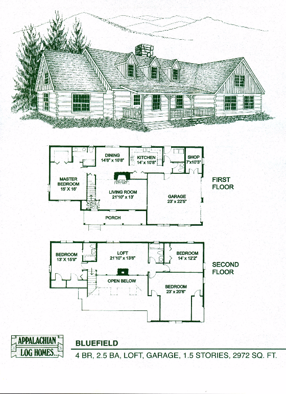 Bluefield 4 Bed 3 5 Bath 1 5 Stories 2972 Sq Ft Appalachian Log Timber Homes Farmhouse Style House Plans Farmhouse Floor Plans Log Home Floor Plans