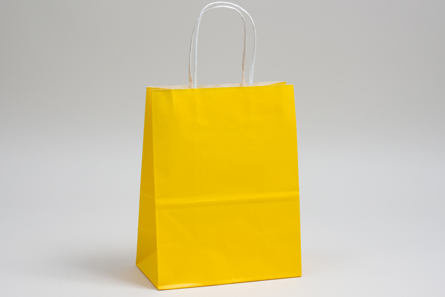 10 X 5 X 13 Buttercup Yellow Color Tinted Paper Shopping Bags With Twisted Paper Handles Colour Tint Yellow Paper Paper Shopping Bag