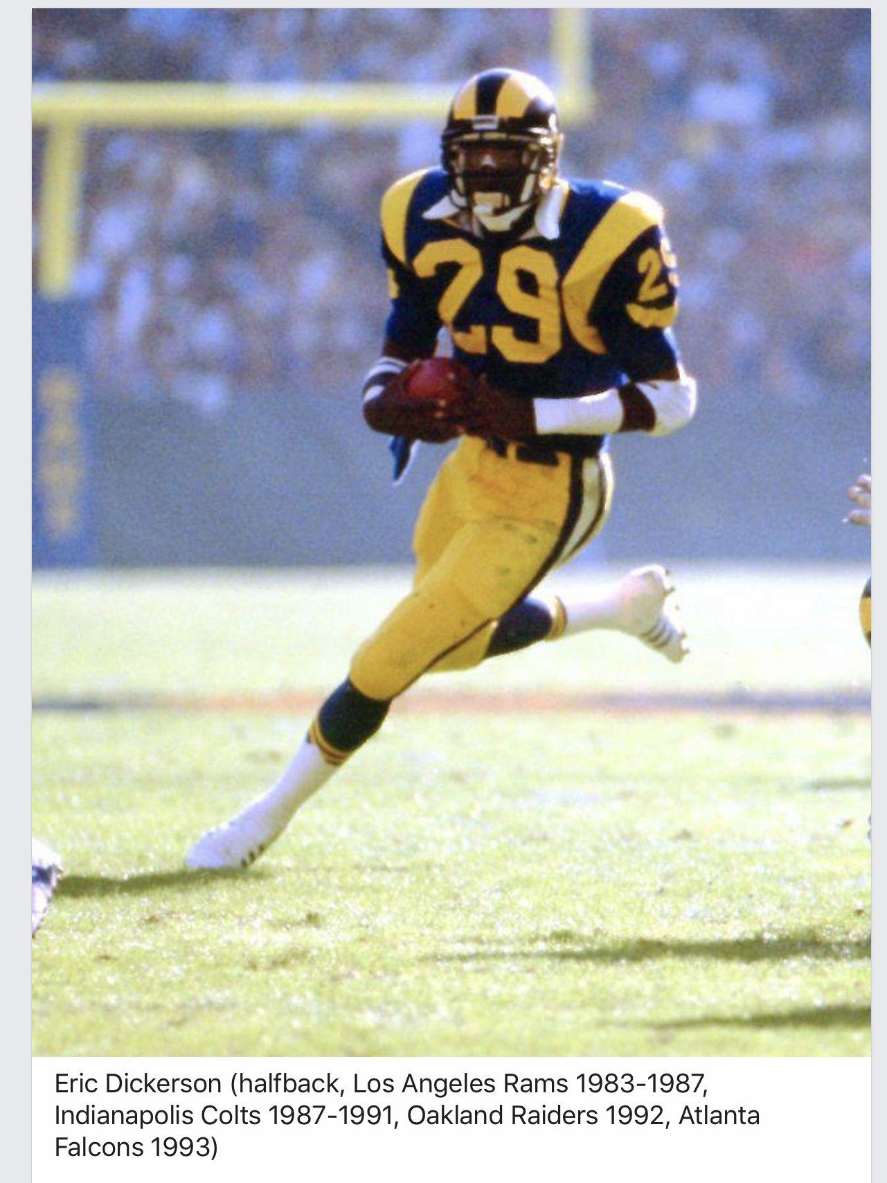 Pin By Artie Johnson On Vintage La Rams Eric Dickerson Los Angeles Rams American Football League