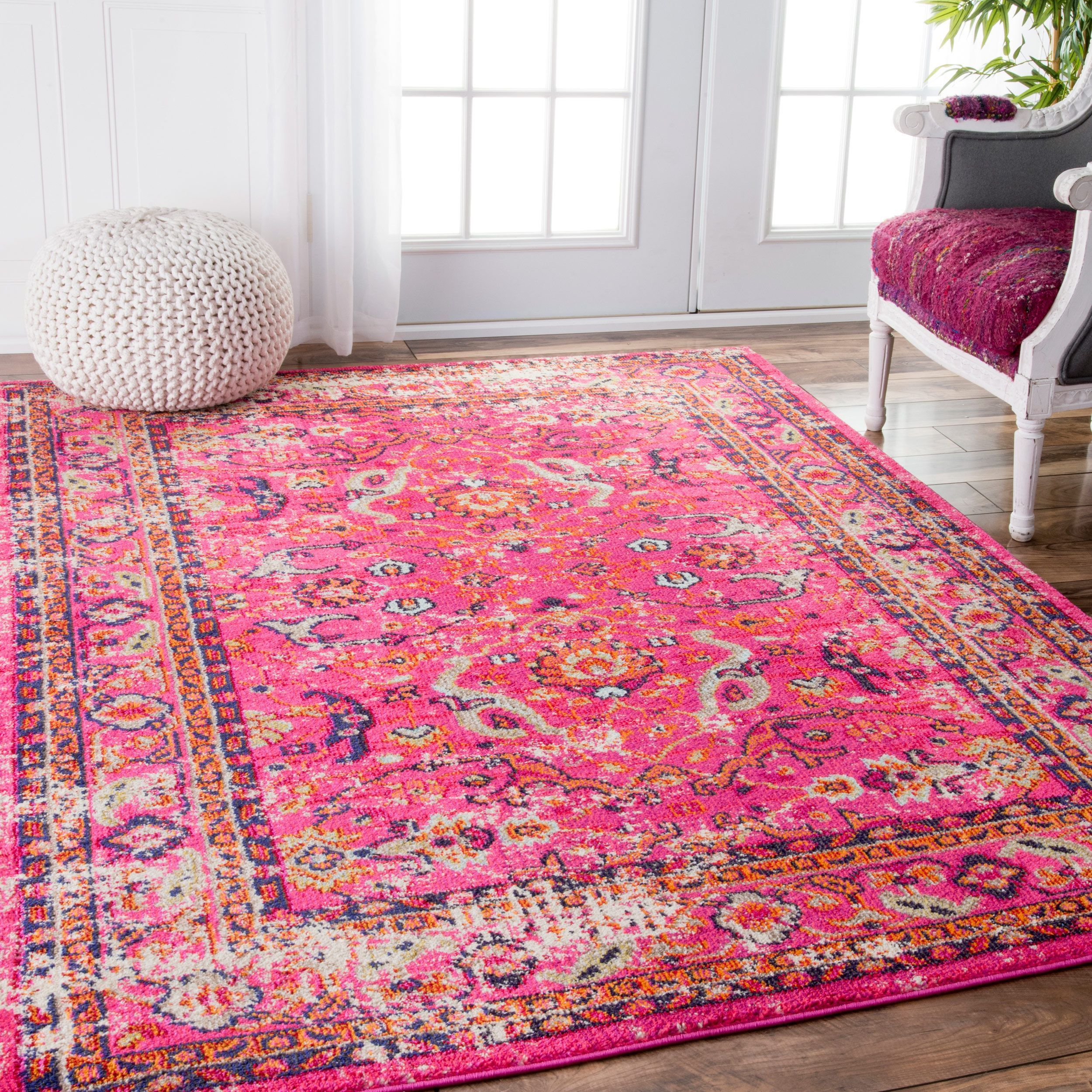 NuLOOM Traditional Vintage Floral Distressed Pink Rug (7