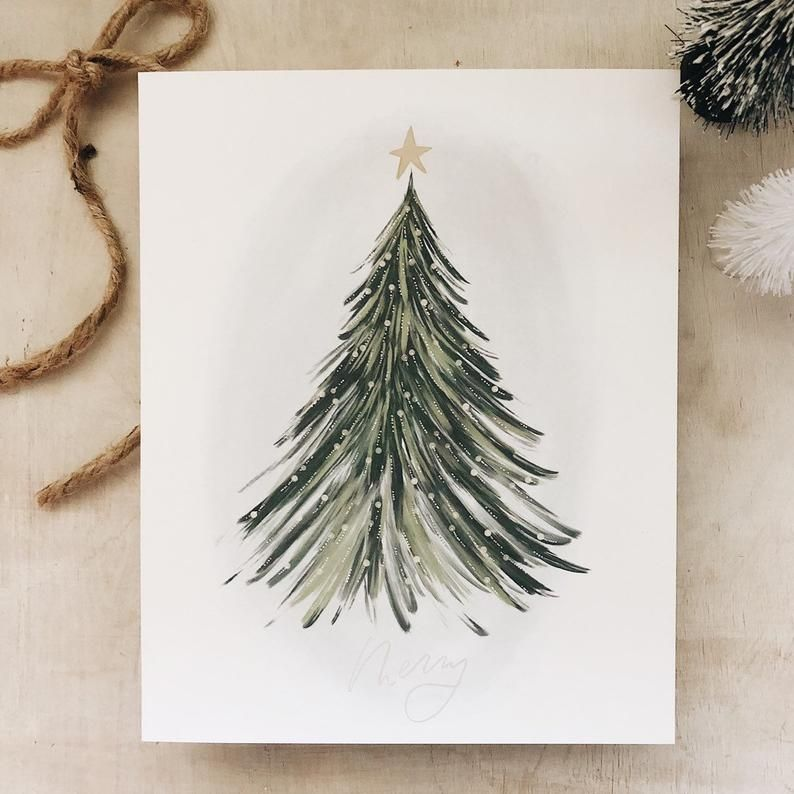 Merry Tree art print 8x10// holiday art - christma