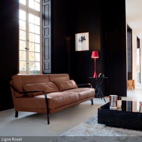 wandfarbe schwarz für eleganz  zeitgenössische wohnzimmer