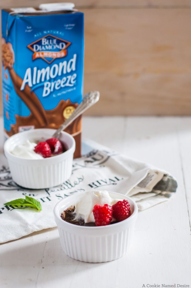 Pots de Creme make a simple easy summer treat with Blue Diamond Chocolate Almond Milk