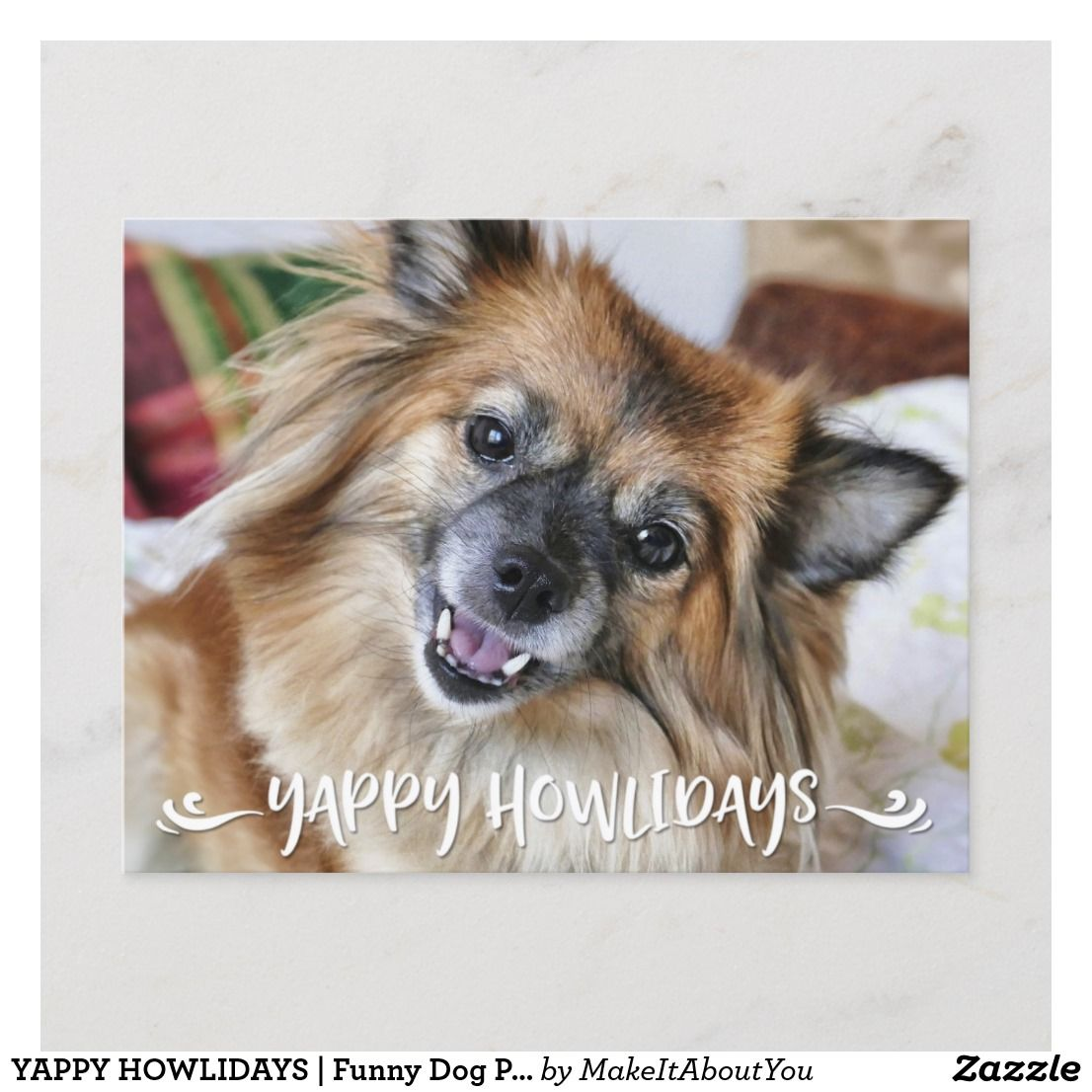 YAPPY HOWLIDAYS Funny Dog Photo Holiday Postcard