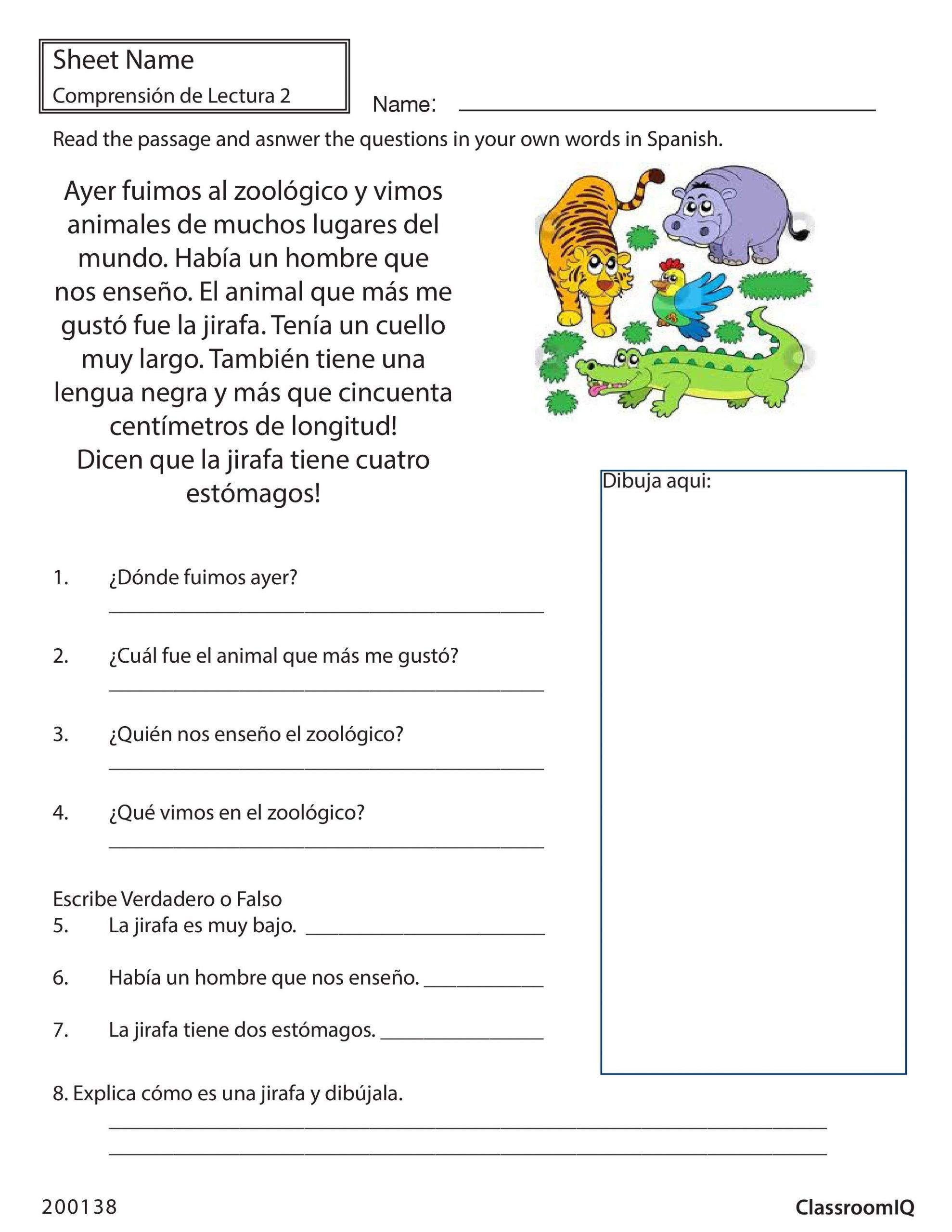 Spanish Reading Comprehension Worksheets In