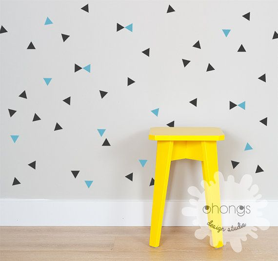 Triangle Wall Decal / 2 Color Triangle / Mini Triangle Sticker / Modern Wall Decal / Kids Room Decal / Home Decor  sc 1 st  Pinterest & Triangle Wall Decal / 2 Color Triangle / Mini Triangle Sticker ...