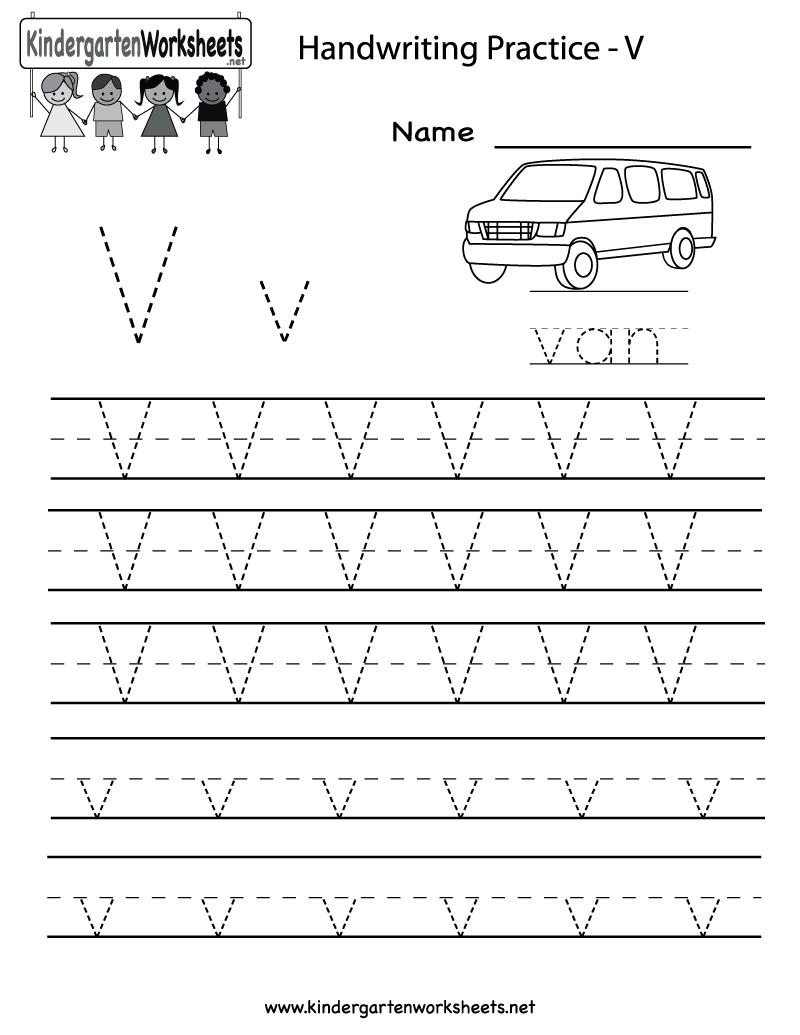Superb Kindergarten Letter V Writing Practice Worksheet Printable
