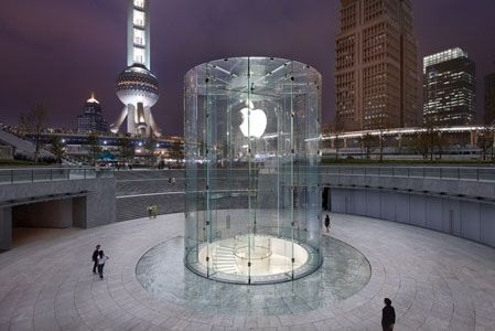 Located Near The Busy Pudong District In Shanghai The Apple Store Sits In A Large Urban Plaza Below A New Ci Apple Store Design Apple Store Apple Retail Store