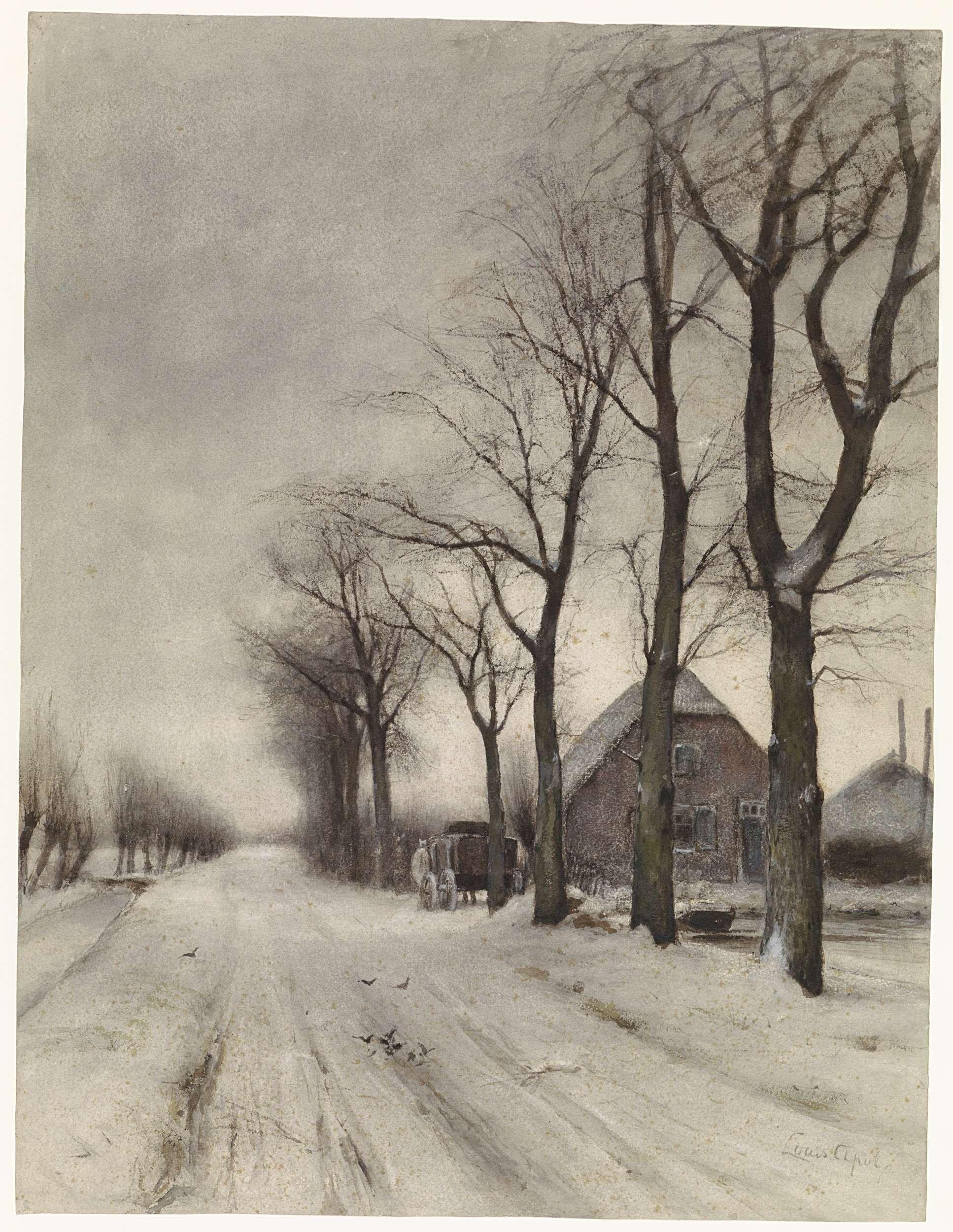 Winterlandschap Met Boerderij Aan Een Laan Louis Apol 1860 1936